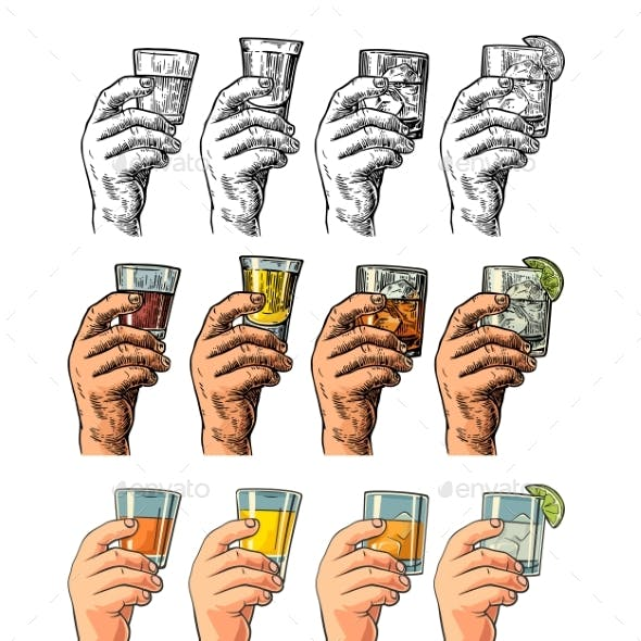 Male Hand Holding Glasses Drinks