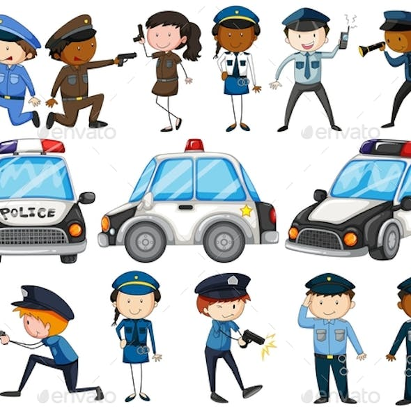 Set of Police Officers and Cars