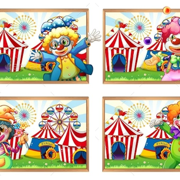 Photo Frame of Clowns at the Circus