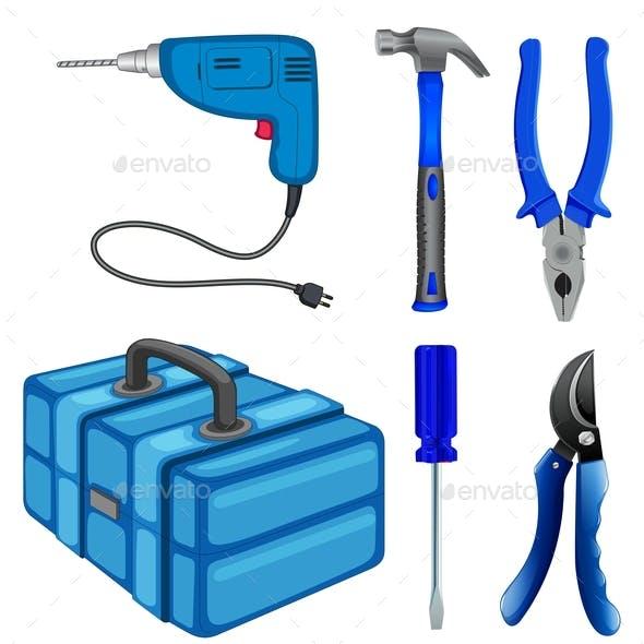 Construction Tools and Box