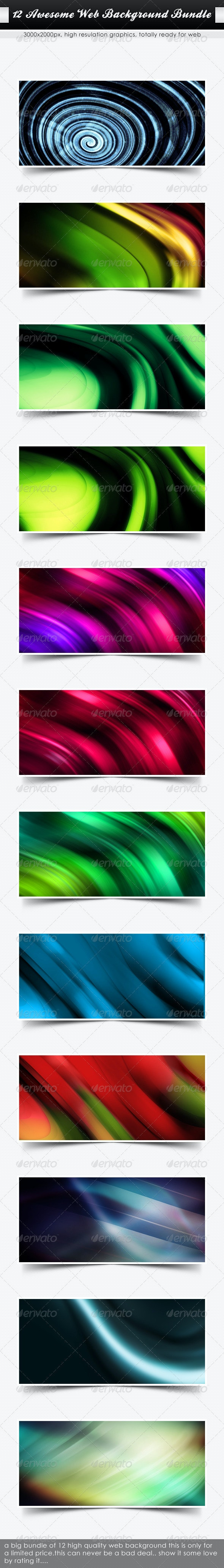 12 HQ Background Pack (Web Bundle-XL ) - Abstract Backgrounds