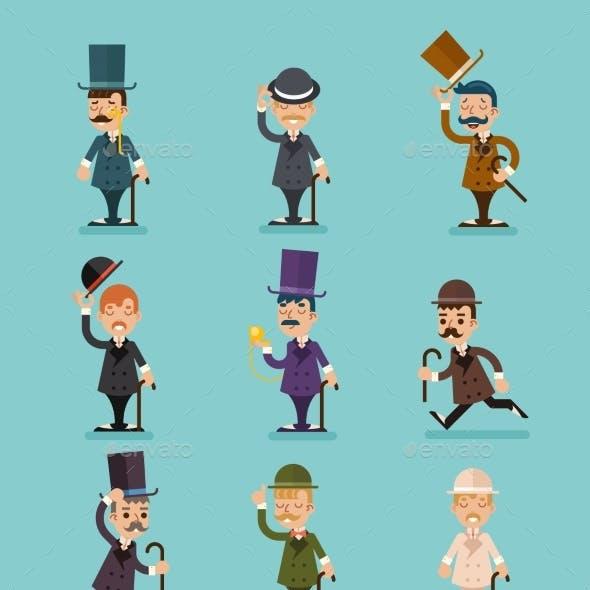 Gentleman Victorian Characters Different Poses