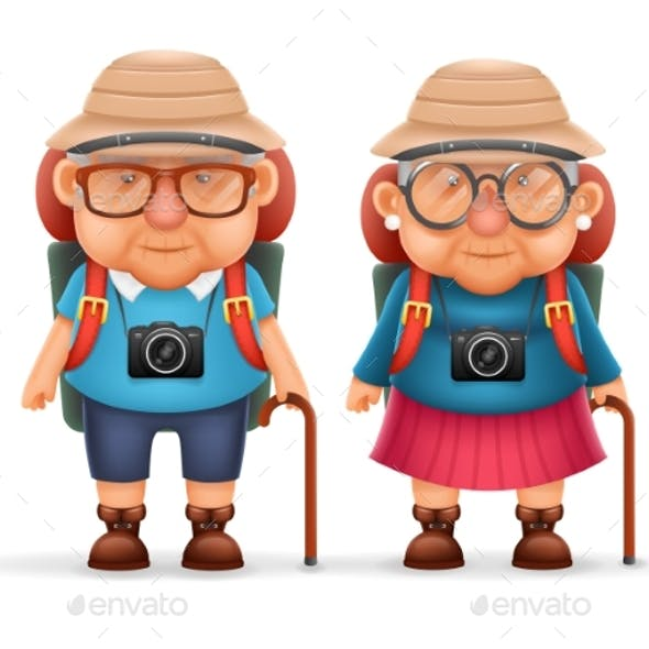 Old Backpacker Couple Photo Camera 3d Travel