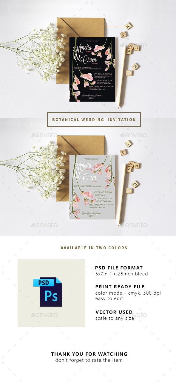 Botanical Wedding Invitation - Invitations Cards & Invites