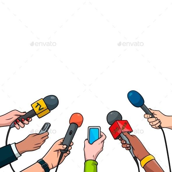 Journalism Concept Vector Illustration in Pop Art