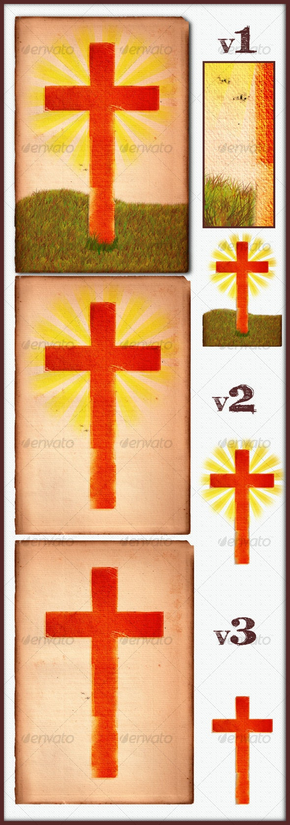 VINTAGE AGED PAPER WITH CROSS PACK - Miscellaneous Illustrations
