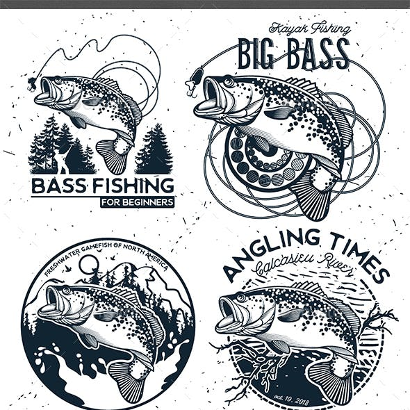 Vintage Bass Fishing Emblems and Labels.