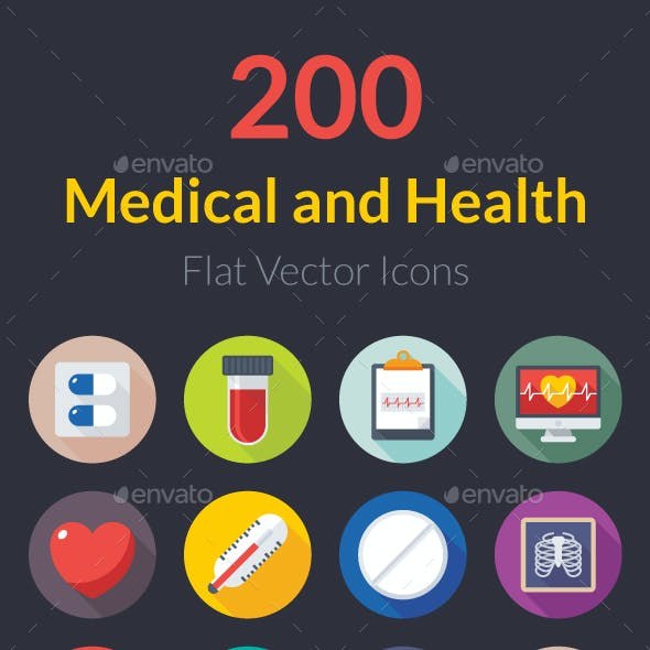 200 Flat Medical and Health Icons