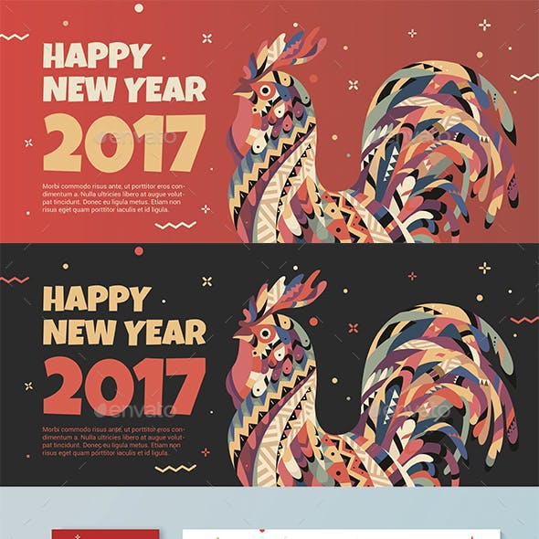 Red Banner with a Rooster for Chinese New Year 2017