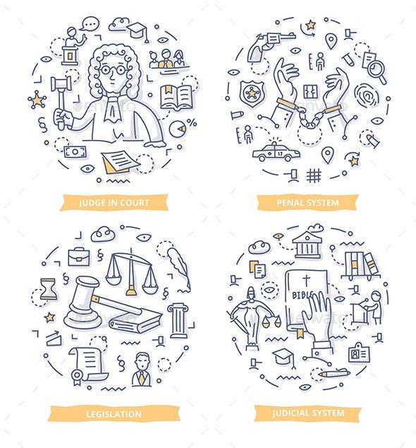 Law & Justice Doodle Illustrations - Conceptual Vectors