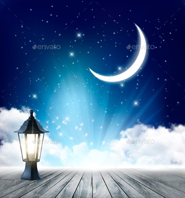 Night Nature Sky Background With Mon, Cloud and Stars  Vector