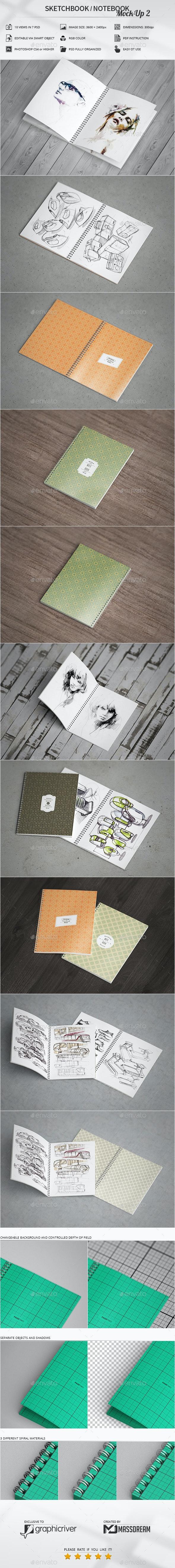 Sketchbook / Notebook Mock-Up 2 - Print Product Mock-Ups