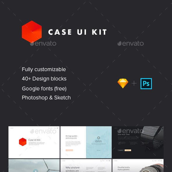 Case UI Kit — User Interface Templates for Photoshop and Sketch