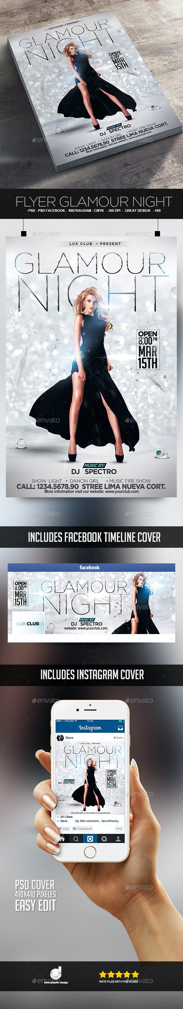 Flyer Glamour Night - Events Flyers