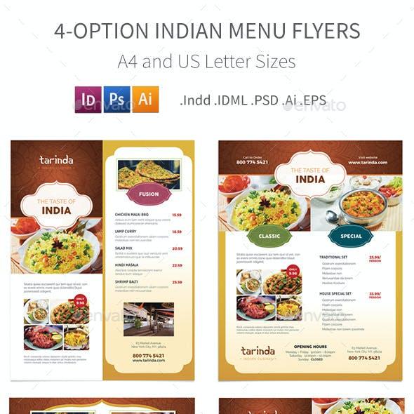 Indian Restaurant Menu Flyers – 4 Options