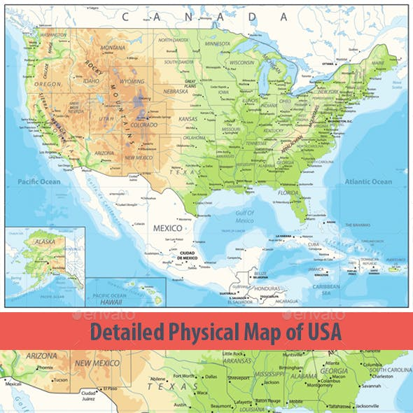 Detailed Physical map of USA