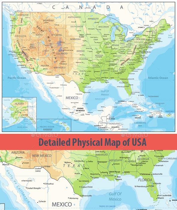 Detailed Physical map of USA by Cartarium | GraphicRiver