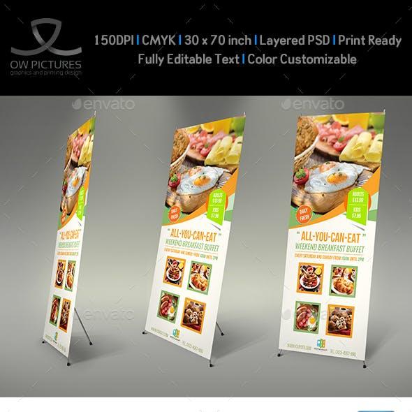 Breakfast Restaurant Rollup Signage Template Vol2