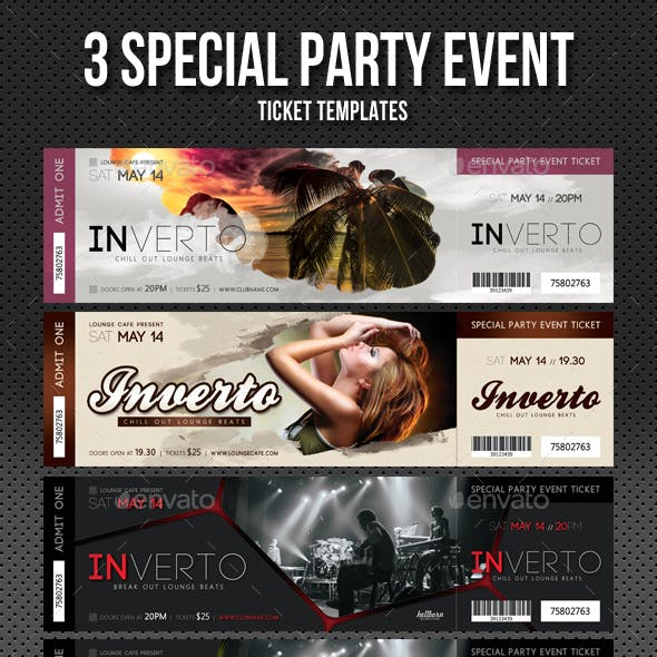 3 in 1 Special Party Event Ticket Bundle V04