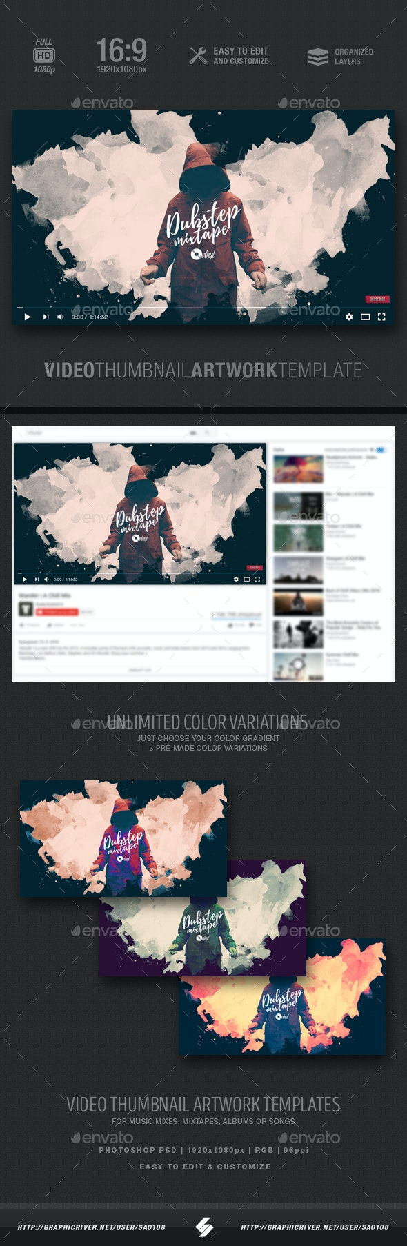 Dubstep Mixtape - Video Thumbnail Artwork Template - YouTube Social Media