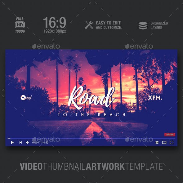 Road To The Beach - Music Video Thumbnail Artwork Template
