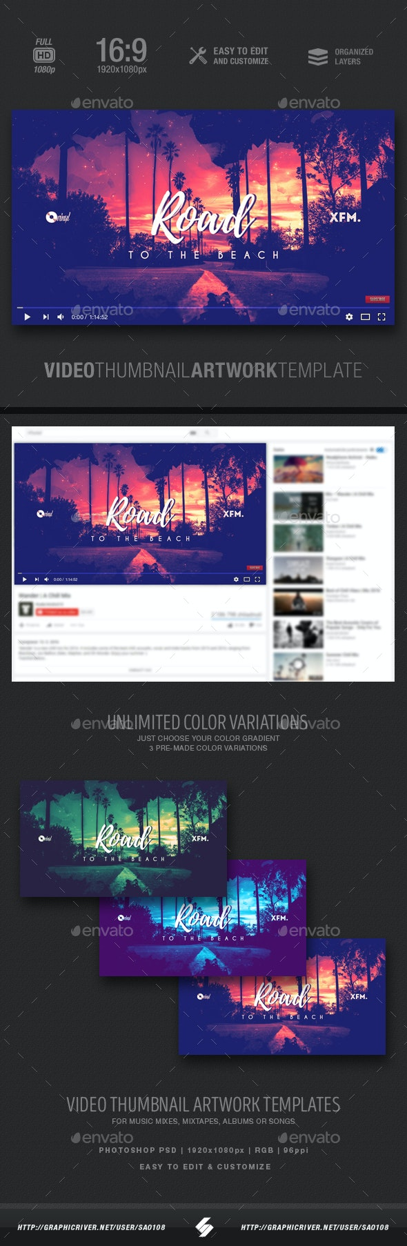 Road To The Beach - Music Video Thumbnail Artwork Template - YouTube Social Media