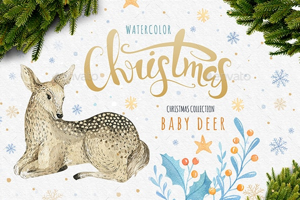 Watercolor Baby Deer - Objects Illustrations