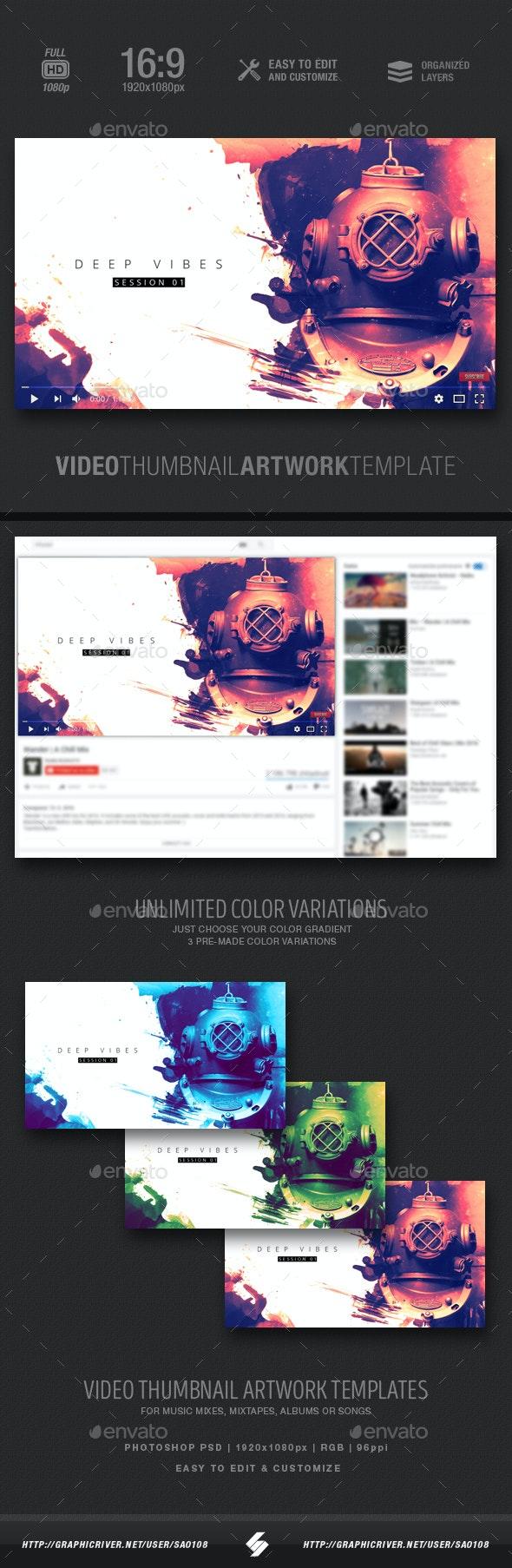 Deep Vibes - Video Thumbnail Artwork Template - YouTube Social Media