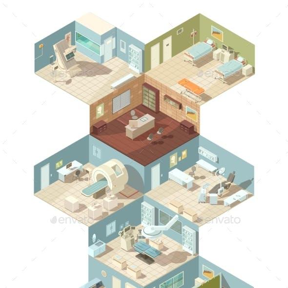 Hospital Indoors Isometric Design Concept