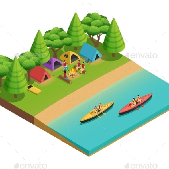 Camping Hiking Isometric Composition