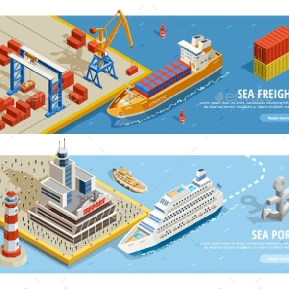 Sea Transportation Isometric Horizontal Banners