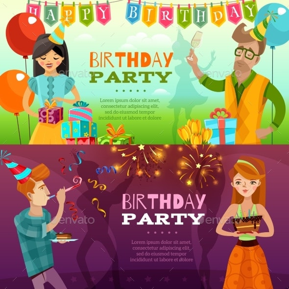 Birthday Party 2  Festive Horizontal Banners - Miscellaneous Conceptual