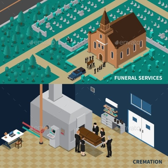 Funeral Services Isometric Banners