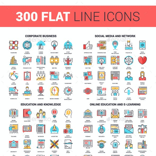 300 Flat Line Icons Bundle