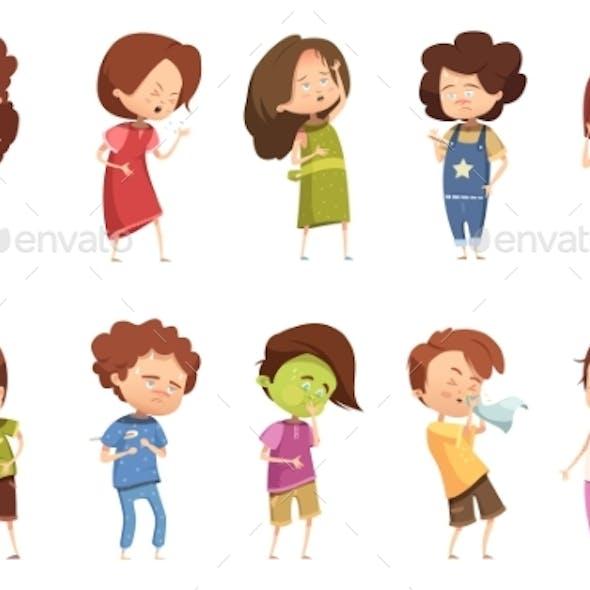 Sickness Child Retro Cartoon Icon Set