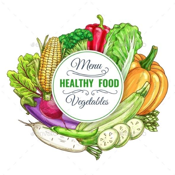 Healthy Food Vegetables Vector Poster