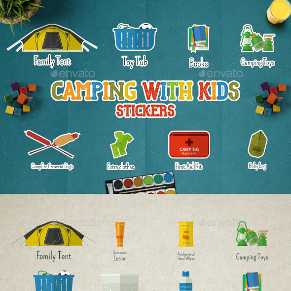 Camping With Kids Badges & Stickers