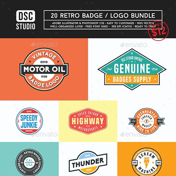 20 Vintage Retro Badge / Logo Bundle Set