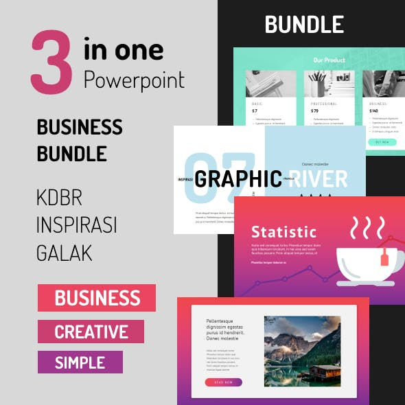 Bundle 3 in 1 Powerpoint - Business - Creative