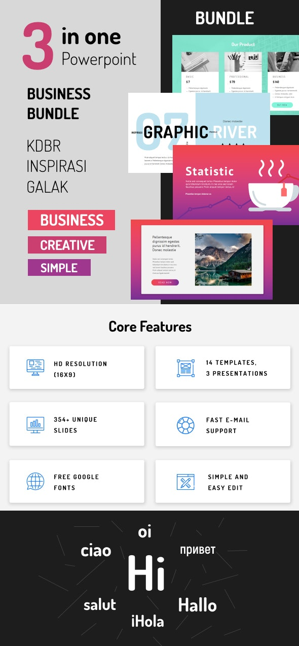 Bundle 3 in 1 Powerpoint - Business - Creative - PowerPoint Templates Presentation Templates
