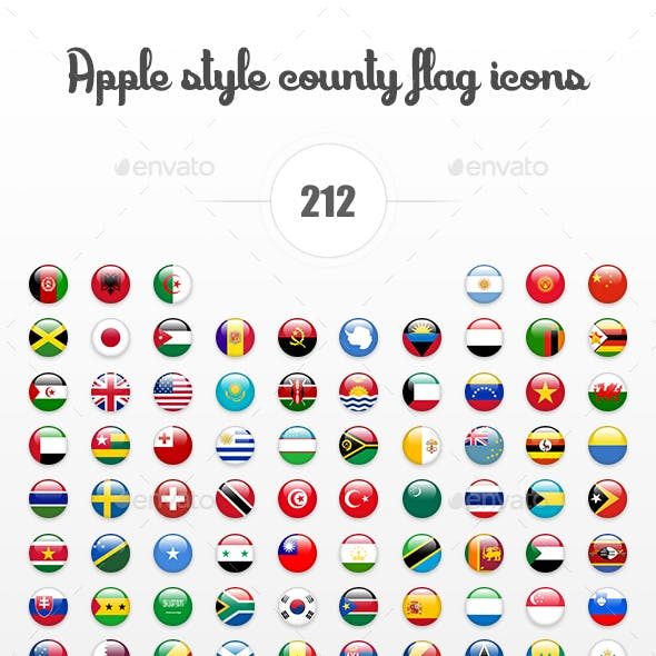 Apple Style Country Flag Icons