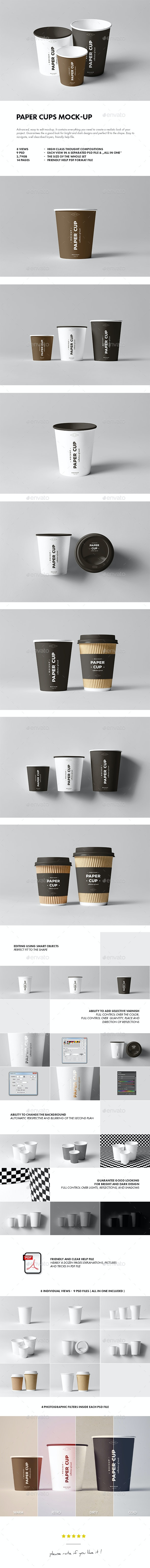 Paper Cups Mock-up - Food and Drink Packaging