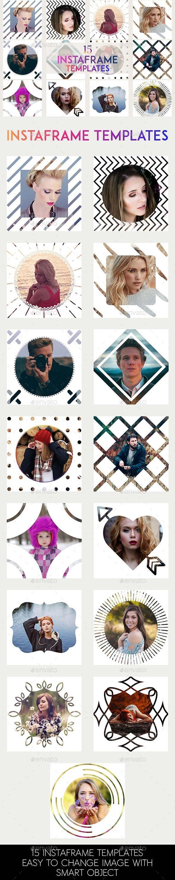 15 InstaFrame PSD Template - Social Media Web Elements
