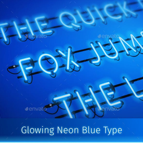 Glowing Neon Blue Type