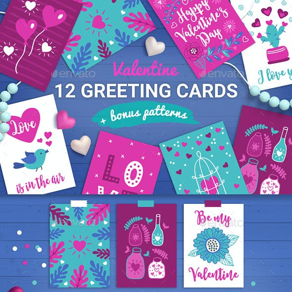12 Valentine Cards + 3 Seamless Patterns