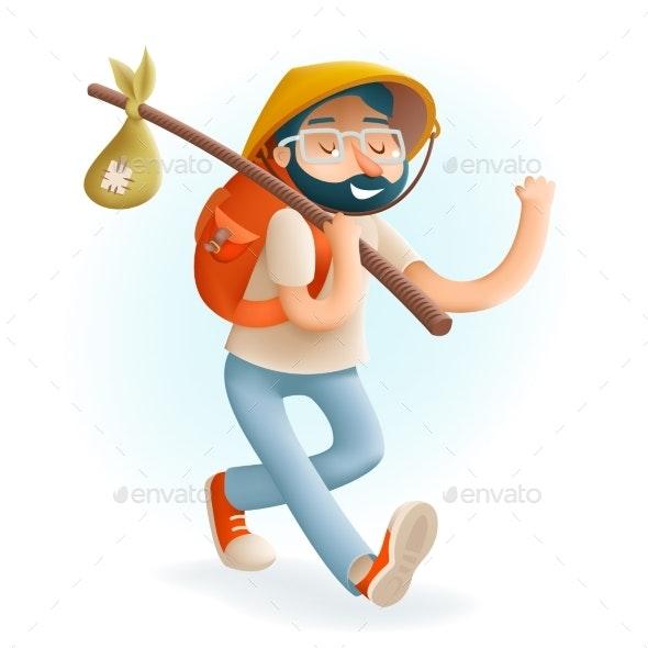 Cartoon Hipster Geek Traveler 3d Businessman - People Characters