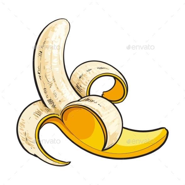 Peeled Ripe Banana