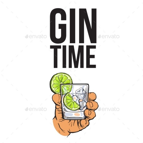 Hand Holding Glass of Gin