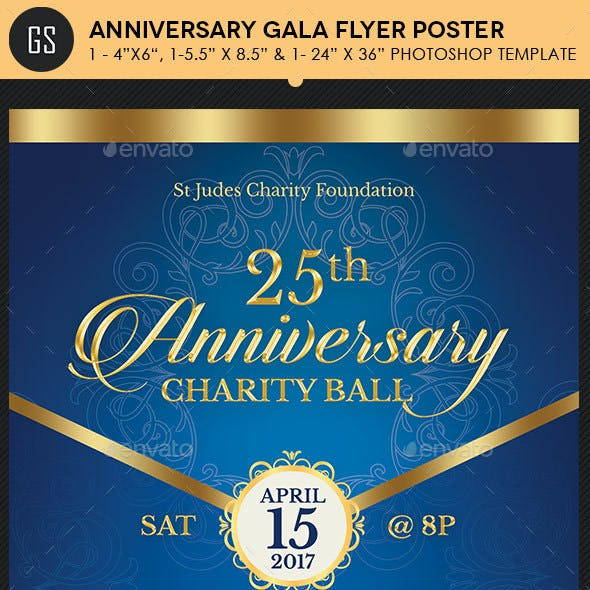 Blue Anniversary Gala Flyer Poster Template