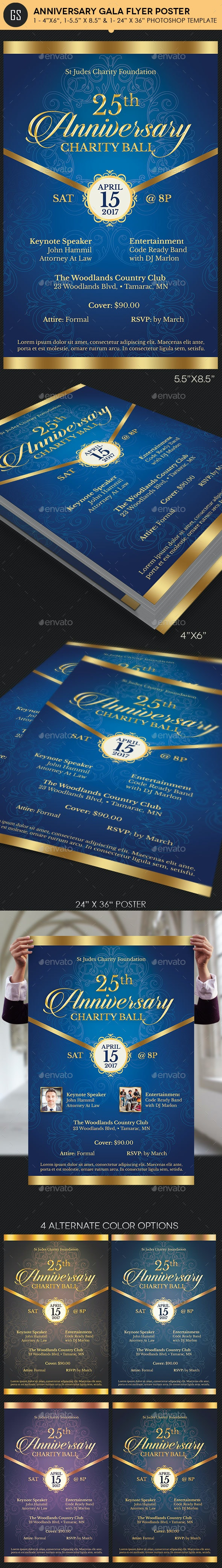 Blue Anniversary Gala Flyer Poster Template - Events Flyers